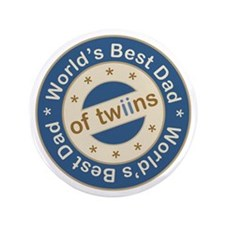 "World's Best Dad of Twin Boys 3.5"" Button"
