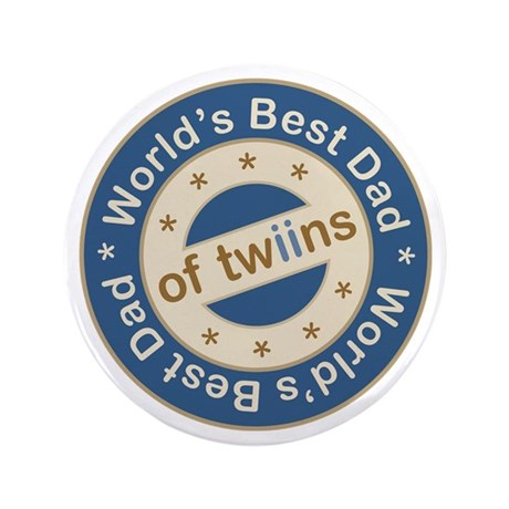 """World's Best Dad of Twin Boys 3.5"""" Button"""