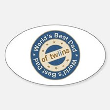 World's Best Dad of Twin Boys Oval Decal