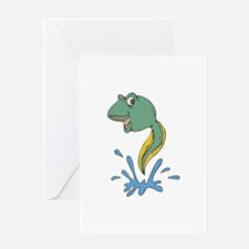 Cute Leaping Tadpole Greeting Card