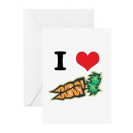 I Heart (Love) Carrots Greeting Cards (Pk of 10)
