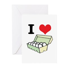 I Heart (Love) Eggs Greeting Cards (Pk of 20)