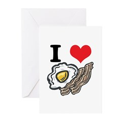 I Heart (Love) Bacon and Eggs Greeting Cards (Pk o