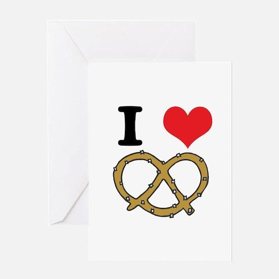 I Heart (Love) Pretzels Greeting Card
