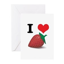 I Heart (Love) Strawberries Greeting Cards (Pk of