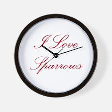 I Love Sparrows Wall Clock