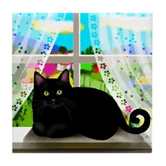 BLACK CAT WINDOW Tile Coaster