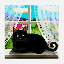 BLACK CAT WINDOW Tile Coaster
