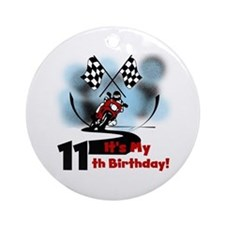 Motorcycle Racing 11th Birthday Ornament (Round)
