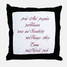 Jane Austen Novels Throw Pillow