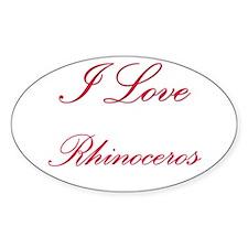 I Love Rhinoceros Oval Decal