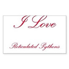 I Love Reticulated Pythons Rectangle Decal