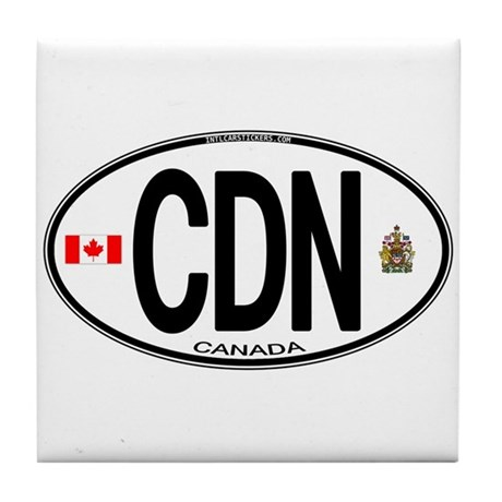 Canada Country Code Oval Tile Coaster