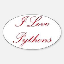 I Love Pythons Oval Decal