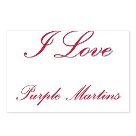 I Love Purple Martins Postcards (Package of 8)