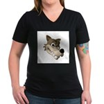 Funny Wolf Face Women's V-Neck Dark T-Shirt