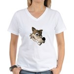 Funny Wolf Face Women's V-Neck T-Shirt