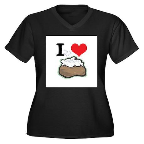 I Heart (Love) Baked Potatoes Women's Plus Size V-