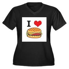 I Heart (Love) Cheeseburgers Women's Plus Size V-N