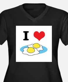 I Heart (Love) Fried Eggs Women's Plus Size V-Neck