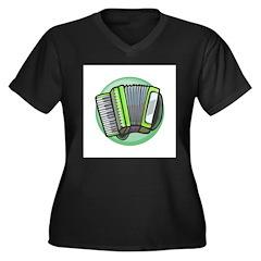 Green Accordian Design Women's Plus Size V-Neck Da