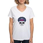 Cycling Skull Head Women's V-Neck T-Shirt
