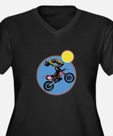 Dirt Bike Stunt Design Women's Plus Size V-Neck Da
