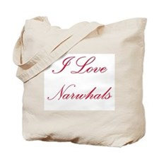 I Love Narwhals Tote Bag