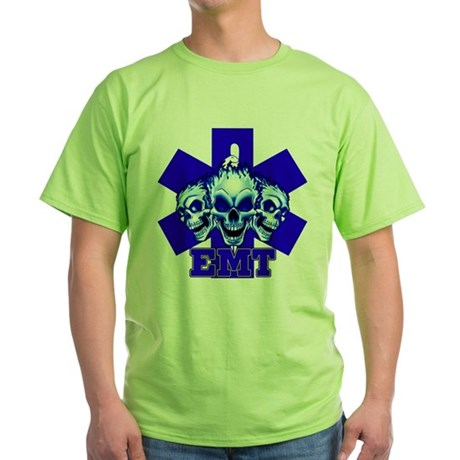 EMT 3-SKULLS Green T-Shirt