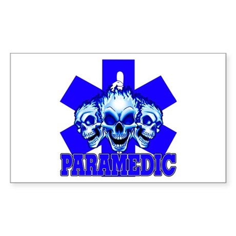 PARAMEDIC-3 SKULLS Rectangle Sticker