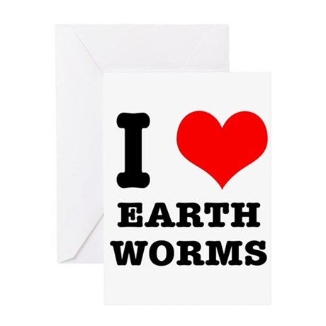 I Heart (Love) Earth Worms Greeting Card