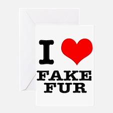 I Heart (Love) Fake Fur Greeting Card
