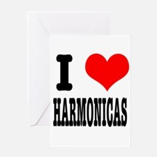 I Heart (Love) Harmonicas Greeting Card