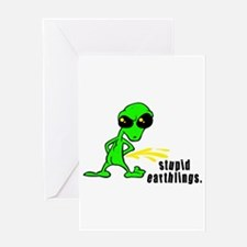 Stupid Earthlings Pissing Ali Greeting Card