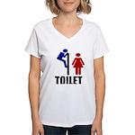 Toilet Peek Women's V-Neck T-Shirt