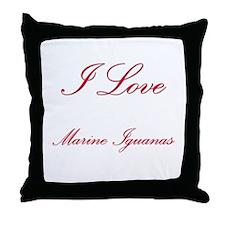 I Love Marine Iguanas Throw Pillow