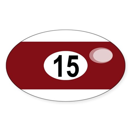 BILLIARD BALL 15 Oval Sticker