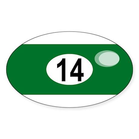 BILLIARD BALL 14 Oval Sticker