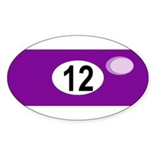 BILLIARD BALL 12 Oval Decal