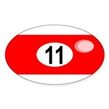 BILLIARD BALL 11 Oval Decal