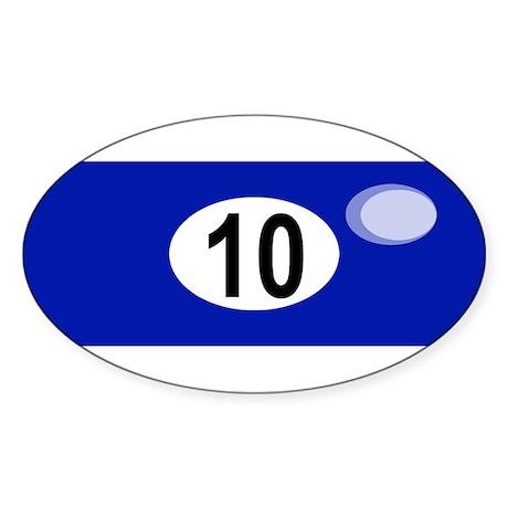 BILLIARD BALL 10 Oval Sticker