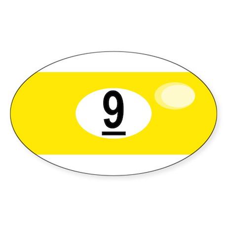 BILLIARD BALL 9 Oval Sticker