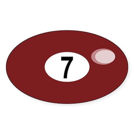 BILLIARD BALL 7 Oval Sticker