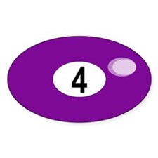 BILLIARD BALL 4 Oval Decal