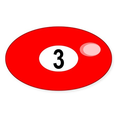 BILLIARD BALL 3 Oval Sticker
