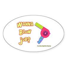 Hairdresser Blow Job Oval Decal