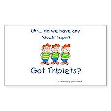 Got Triplets? - 3 Boys Duck T Sticker (Rectangular