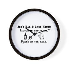 Joe's Bar & Card House. Liqu Wall Clock