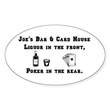 Joe's Bar & Card House. Liqu Oval Sticker (50 pk)