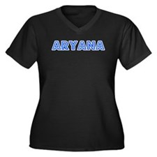 Retro Aryana (Blue) Women's Plus Size V-Neck Dark